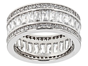 white cubic zirconia rhodium over sterling silver ring 6.24ctw