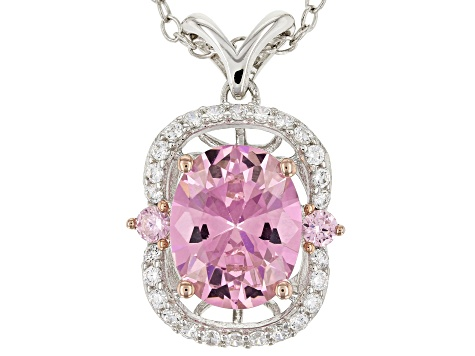 Pink & White Cubic Zirconia Rhodium Over Silver Pendant With Chain 4.98ctw
