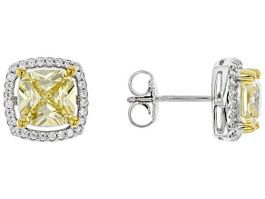 Yellow & White Cubic Zirconia Rhodium Over Sterling Silver Earrings 4.97ctw