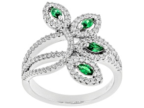 Green & White Cubic Zirconia Rhodium Over Sterling Silver Ring 1.62ctw