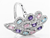 blue, purple, pink, white cubic zirconia rhodium over sterling silver 2.97ctw