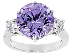 Purple & White Cubic Zirconia Rhodium Over Sterling Silver Ring 9.89ctw