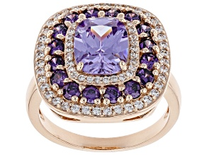 Purple and White Diamond Simulants 18k Rose Gold Over Silver Ring 6.22ctw