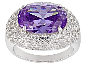 Purple & White Cubic Zirconia Rhodium Over Sterling Silver Ring 14.02ctw