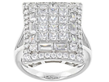 Picture of White Cubic Zirconia Rhodium Over Sterling Silver Ring 4.88ctw.