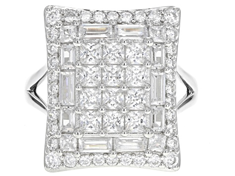 White Cubic Zirconia Rhodium Over Sterling Silver Ring 4.88ctw.