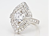 White Cubic Zirconia Rhodium Over Sterling Silver Ring 5.18ctw