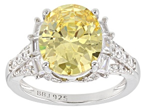 Yellow & White Cubic Zirconia Rhodium Over Silver Ring 9.54ctw