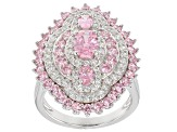 Pink & White Cubic Zirconia Rhodium Over Silver Ring 6.74ctw