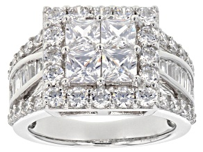 White Cubic Zirconia Rhodium Over Sterling Silver Ring 3.98ctw