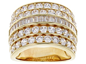 White Cubic Zirconia 18K Yellow Gold Over Sterling Silver Ring 6.29ctw