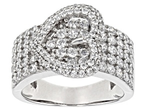 White Cubic Zirconia Rhodium Over Sterling Silver Heart Ring 3.20ctw