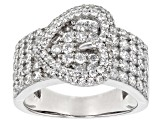 White Cubic Zirconia Rhodium Over Sterling Silver Ring 3.20ctw