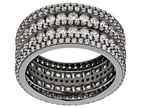 White Cubic Zirconia Black Rhodium Over Silver Ring 5.93ctw