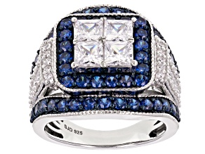 Blue & White Cubic Zirconia Rhodium Over Sterling Silver Ring 6.21ctw