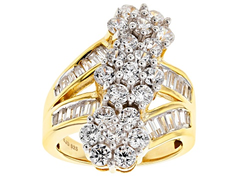 White Cubic Zirconia 18k Yellow Gold Over Sterling Silver Ring 5.74ctw