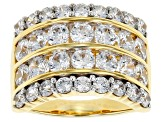 White Cubic Zirconia 18k Yellow Gold Over Sterling Silver Ring 6.55ctw