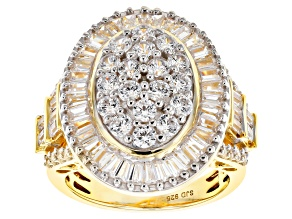 White Cubic Zirconia 18k Yellow Gold Over Sterling Silver Ring 5.43ctw