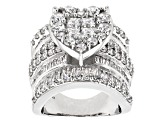 White Cubic Zirconia Rhodium Over Sterling Silver Heart Ring 8.25ctw