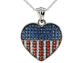Blue, Red, & White Cubic Zirconia Rhodium Over Sterling Silver Heart Pendant With Chain 1.27ctw