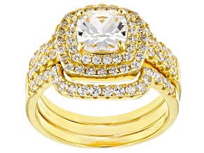 White Cubic Zirconia 18k Yellow Gold Over Sterling Silver Ring With Bands 3.04ctw