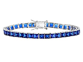blue cubic zirconia rhodium over sterling silver bracelet 13.54ctw