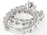 White Cubic Zirconia Rhodium Over Sterling Silver Ring With Band 10.90ctw