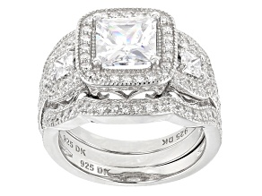 White Cubic Zirconia Rhodium Over Sterling Silver Center Design Ring With Bands 4.93ctw