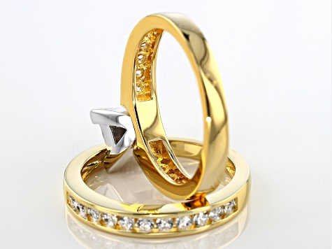 White Cubic Zirconia 18k Yellow Gold Over Sterling Silver Ring With Band 2.25ctw