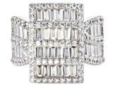 White Cubic Zirconia Rhodium Over Sterling Silver Cluster Ring 5.14ctw