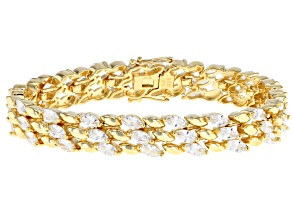 White Cubic Zirconia 18K Yellow Gold Over Sterling Silver Statement Bracelet 17.63CTW