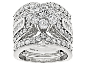 White Cubic Zirconia Rhodium Over Sterling Silver Ring With Guard 5.90ctw