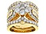 White Cubic Zirconia 18K Yellow Gold Over Sterling Silver Ring With Guard 5.90ctw
