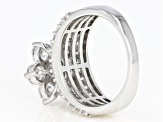 White Cubic Zirconia Rhodium Over Sterling Silver Floral Ring 6.18ctw