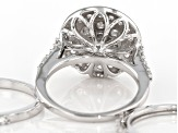 White Cubic Zirconia Rhodium Over Sterling Silver Ring Set Of 3 4.54ctw