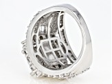 White Cubic Zirconia Rhodium Over Sterling Silver Cluster Ring 5.90ctw