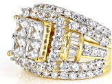 White Cubic Zirconia 18K Yellow Gold Over Sterling Silver Cluster Ring 5.90ctw