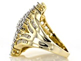 White Cubic Zirconia 18k Yellow Gold Over Sterling Silver Ring 4.06ctw