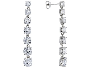White Cubic Zirconia Rhodium Over Sterling Silver Earrings 16.62ctw