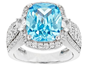 Blue & White Cubic Zirconia Rhodium Over Sterling Silver Ring 10.83ctw