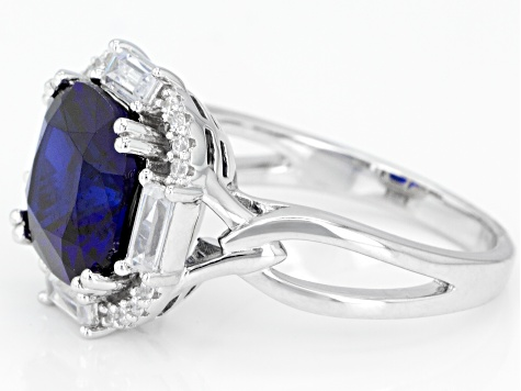 Lab Created Sapphire & White Cubic Zirconia Rhodium Over Silver Ring 5.03ctw