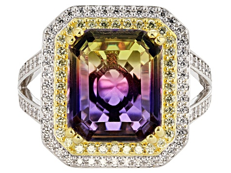 Bi-Color, White, & Yellow Cubic Zirconia 18K Yellow Gold & Rhodium Over Sterling Silver Ring
