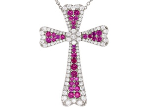 Lab Created Ruby & White Cubic Zirconia Rhodium Over Silver Cross Pendant With Chain