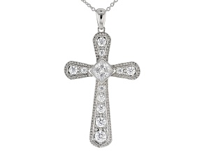 White Cubic Zirconia Rhodium Over Sterling Silver Cross Pendant With Chain 4.97ctw