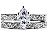 White Cubic Zirconia Rhodium Over Sterling Silver Ring With Band 3.49ctw (1.73ctw dew)