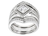 White Cubic Zirconia Rhodium Over Sterling Silver Center Design Ring With Bands 2.39ctw