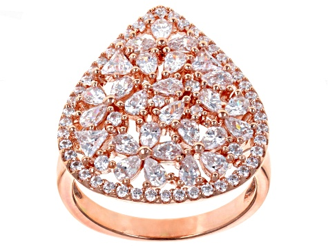 White Cubic Zirconia 18K Rose Gold Over Sterling Silver Cluster Ring