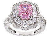 Pink & White Cubic Zirconia Rhodium Over Sterling Silver Center Design Ring