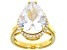 White Cubic Zirconia 18k Yellow Gold Over Sterling Silver Ring 12.75ctw