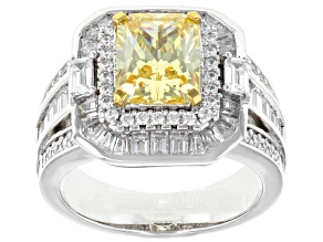 Yellow & White Cubic Zirconia Rhodium Over Sterling Silver Center Design Ring 6.30ctw